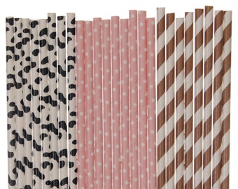 Paper Straw Mix, Cowgirl Light Pink Brown Striped Cow Print Polka Dot Paper Straws, 1st Birthday Party Decor Baby Shower Supplies Farm Party