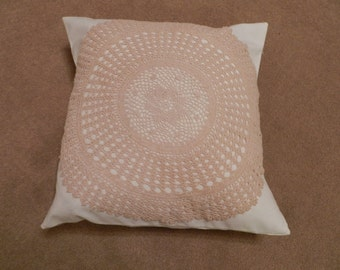 APPLIQUE CUSHION COVER - unusual vintage upcycled cream doily feature