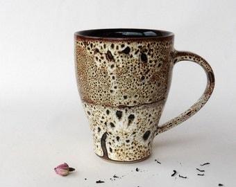 Big speckled brown mug 4, stoneware