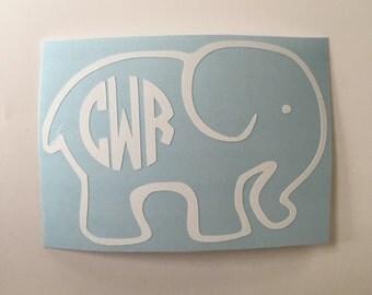 Elephant Monogram Decal Outline - Circle Font