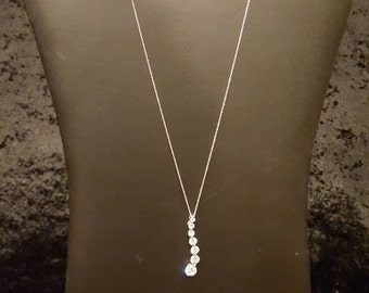 Sterling Silver Necklace with CZ Drop