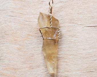 Wire wrap pendant amber