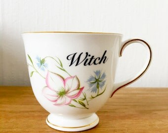 Witch | Custom Swear Teacup | Made To Order | Funny Rude Insult Obscenity Profanity | Unique Gift Idea