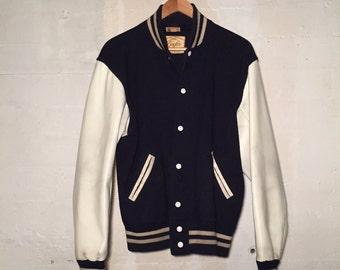 Vintage Wool and Vinyl Plain Varsity Letterman Jacket
