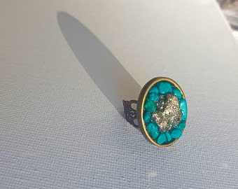 Turquoise + Fools Gold Ring