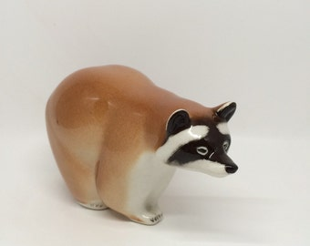Vintage 1970's Russian Porcelain Raccoon