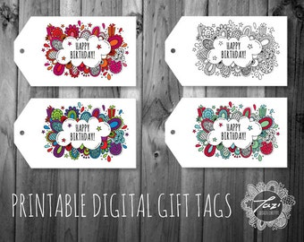 Happy Birthday Gift Tags | Instant Digital Download to Print at Home | Full Colour Original Design