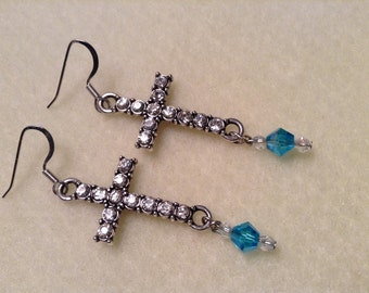 Silver Cross and Bead Earrings