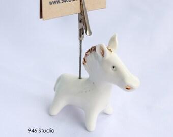 white horse ceramic, horse statue, home decor, namecard holder, picture holder, horse ceramic