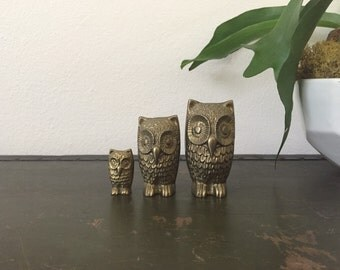 Vintage Brass Owls | Set of Three Owls | Owl Family | Mid Century Figurines | Paperweight