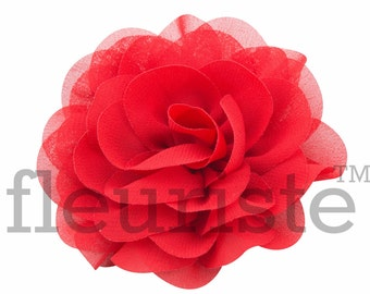 "RED 3"" Chiffon Rose Flower, Wholesale Flower, Fabric Flower, Headband Flower, Wedding Flower, Flower Embellishment, Diy Flower"