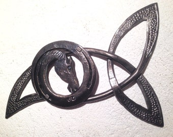 Trinity Knot with horse framed on horseshoe
