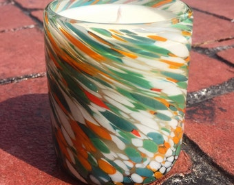 """Hand Blown Recycled Glass """"Swirled Ocean Orange"""" Pastel Tumbler Vanilla Soy Candle"""