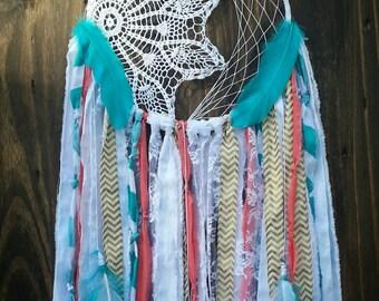 Aqua and Coral Dream catcher - turquoise Dreamcatcher - boho - bohemian - woodland nursery decor - bohochic - hippie - gypsy -