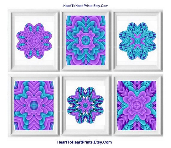 Teal Medallion Wall Decor : Home decor wall art purple mint teal bedroom by