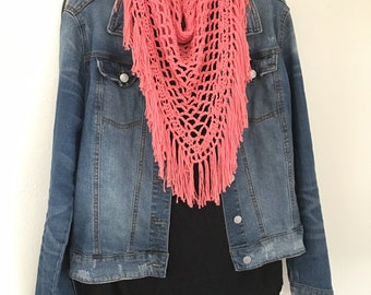 Boho chic triangle fringe scarf, crocheted shawl, coral