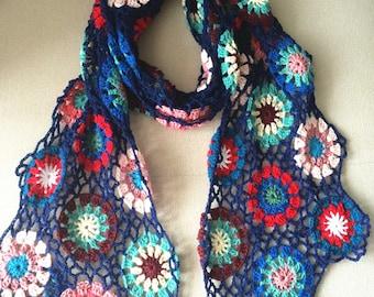 Grany Square Crochet Scarf
