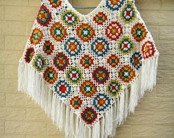 Women Crochet Floral Poncho