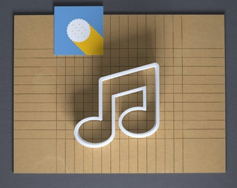 Beamed pair of eighth notes cookie cutter, 3D printed, music cookie cutter