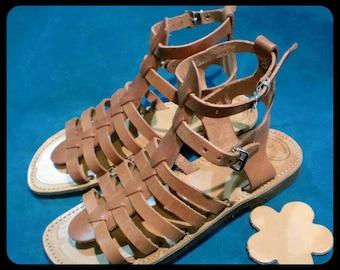 Greek Spartan strappy leather sandal