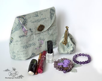 Women bag set Linen cosmetic bag metal frame coin purse Lilac fabric flower lace brooch amethyst Grey vintage print clutch Elegant dress pin