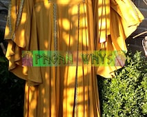 Fantasy Celtic dress - yellow / ocher with wide sleeves & golden ribbon - Morgaine Avalon dress Goddess pagan fairy renaissance festival