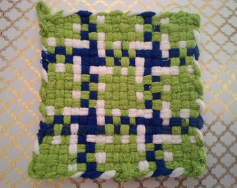 Green, White and Blue Woven Potholder