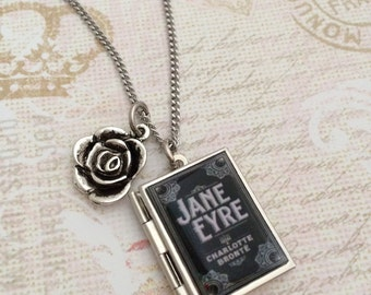 Jane Eyre Miniature Book Locket Necklace, Jane Eyre Necklace