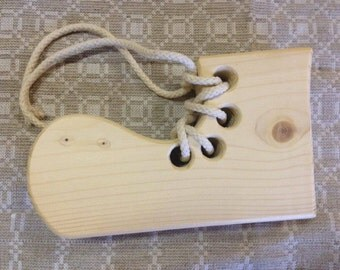 Natural Wood Lacing Shoe Toy, Eco Wood Lacing Toy
