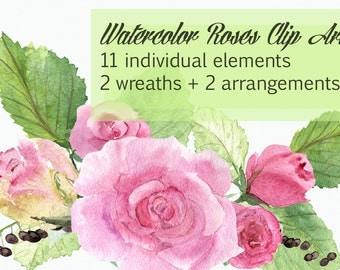 Watercolor Roses Clip Art - Wreths - Flower Arrangements
