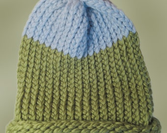 Green and Blue Winter Hat