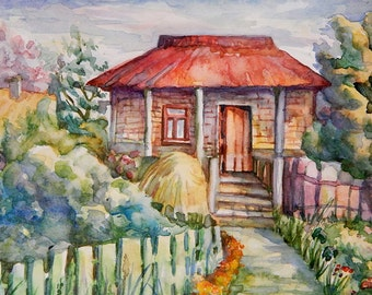 Landscape in Watercolor, watercolor Painting, Print - A house in the village