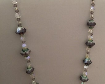 Purple and teal glassy necklace