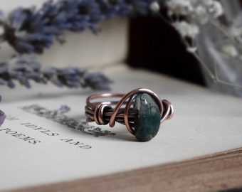 Wrapped Moss Agate Ring - UK Size L