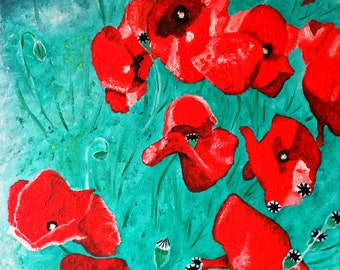 Original art print from an oil painting, poppies, wild flowers, nature