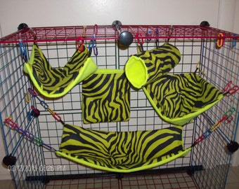 LIME ZEBRA  Rat Ferret 5 pc cage set