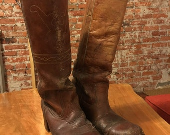 Vintage Leather Knee High Campus Boots 7.5