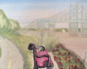 Red Bench Near the I74 Bridge Along the Mississippi River,  8x10 inch giclee print
