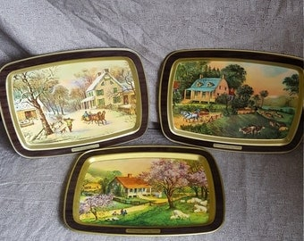Currier and Ives Seasons Trays