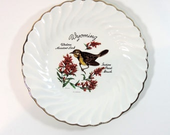 Cute souvenir plate of Wyoming with Western Meadow Lark and Indian Paint Brush