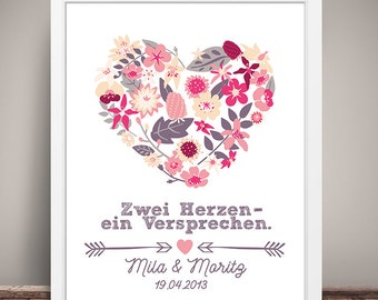 DIN A3 wedding day/Anniversary art print, mural ' Two hearts-a promise ', gift wedding