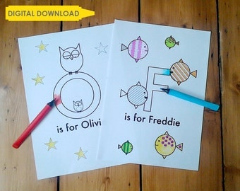Personalised colouring in sheet – digital download – Kid's name
