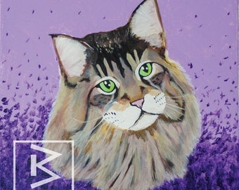 12 in x 12 in Maine Coon - Original painting