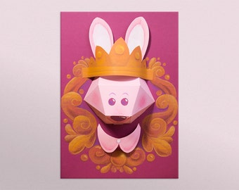 Trophy paper already mounted rabbit