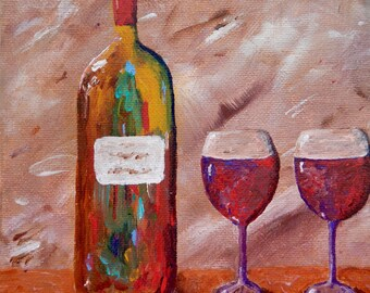 Clink; acrylic painting, wine painting, canvas art