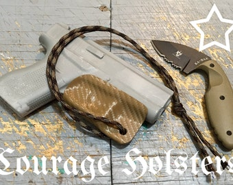 Glock 42 Kydex trigger guard with Paracord pull lanyard in Brown Carbon Fiber