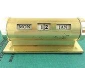 Perpetual Desk Calendar - Mid Century Modern - Gold Desk Decor - Desk Ornament - Mid Century Decor - Mad Men - Retro Office Decor - Gold