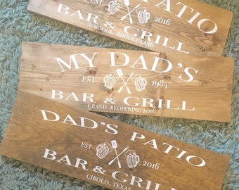 BBQ Sign, Dads Bar and Grill, Home Bar Sign, Personalized Bar Sign, Dads BBQ Sign, Custom Bar and Grill Sign, Backyard BBQ Sign