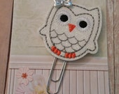 White Owl Planner clip - Paperclip Bookmark -  Bookmark -  Paperclip - Planner Bookmark - Paperclip Bookmark - Planner Clips