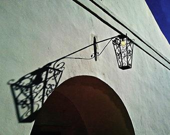 Spanish Mission Wrought Iron Lantern, Photograph print - Wrought Iron Metal Metalwork Southwest Spanish Mission Shadow Lantern